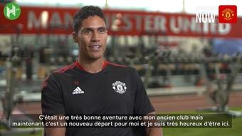 La première interview de Varane avec Manchester United. Dugout