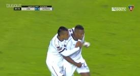 Primeiro gol de Valencia na LDU. DUGOUT