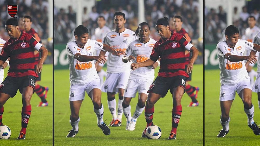 Ronaldinho netted a hat-trick as Flamengo beat Santos 4-5. DUGOUT