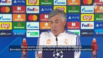 Découvrez la réaction de Carlo Ancelotti avant le match contre le Sheriff. Dugout