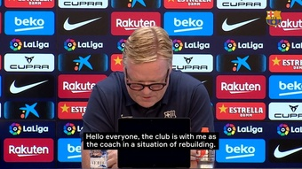 Ronald Koeman reads a short statement and walks out the press conference. DUGOUT