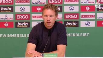 Julian Nagelsmann spoke after Bayern thumped Bremer SV 0-12. DUGOUT