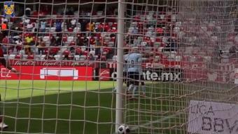 Guido Pizarro scored and then got sent off v Toluca. DUGOUT