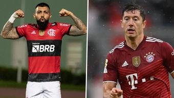 Gabigol e Lewandowski: trocas de gentilezas e recordes de gols por Flamengo e Bayern. AFP