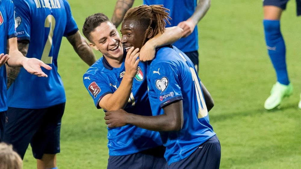 Moise Kean (R) scored twice as Italy thrashed Lithuania 5-0. GOAL