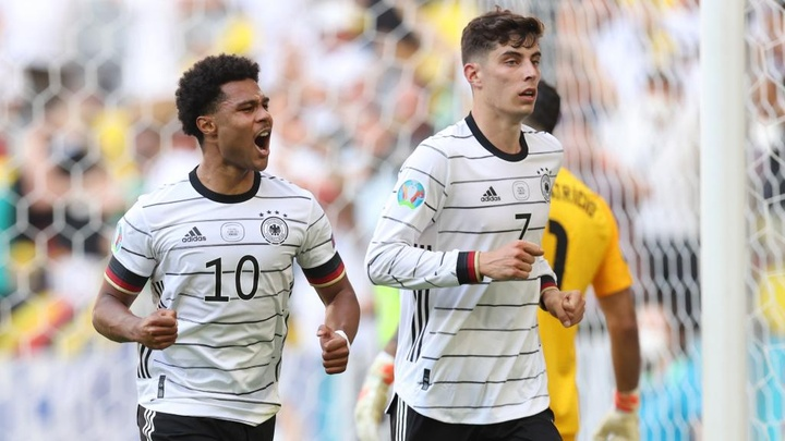 Kai Havertz (R) scored as Germany defeated Portugal 4-2. GOAL
