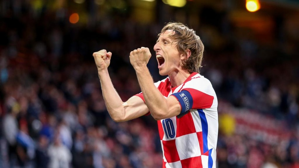 Luka Modric scored as Croatia knocked out Scotland. GOAL